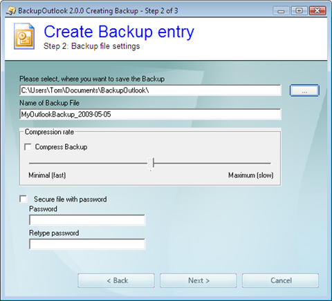backup outlook step 2