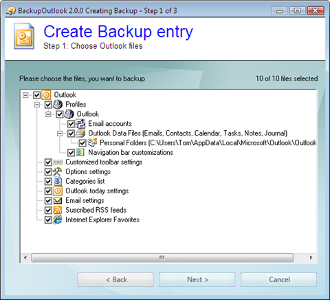 create backup job step 1