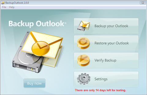 backup outlook start screen