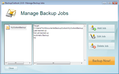 backup outlook job was created