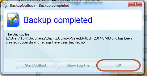 Outlook backup is finished