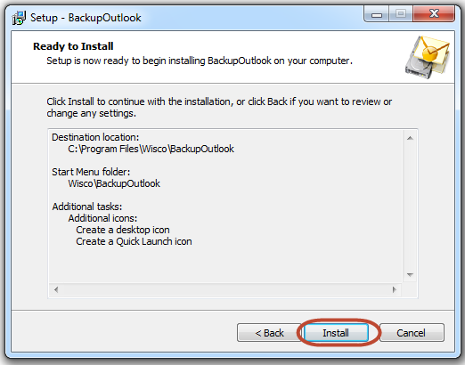 Backu Outlook is ready for the copying files
