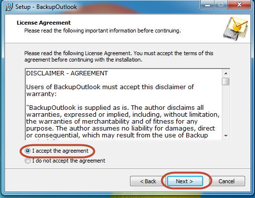 License agreement for Outlook backup tool