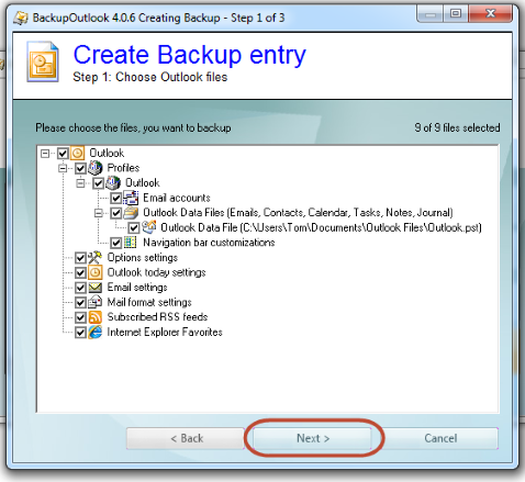 Select Outlook elements you want to back up
