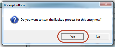 Start Backup Outlook process