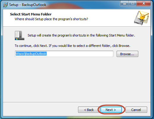Select the start menu entry for Outlook backup